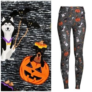 Halloween Dog Stretch Knit Soft Leggings Large L